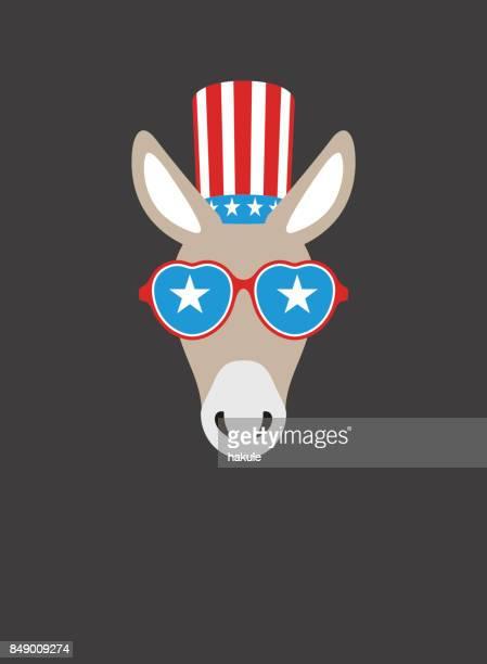 portrait of donkey, wearing something, like democratic party us, cool style - donkey stock illustrations, clip art, cartoons, & icons