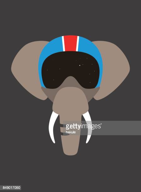 Portrait of elephant, wearing helmet, like pilot, cool style