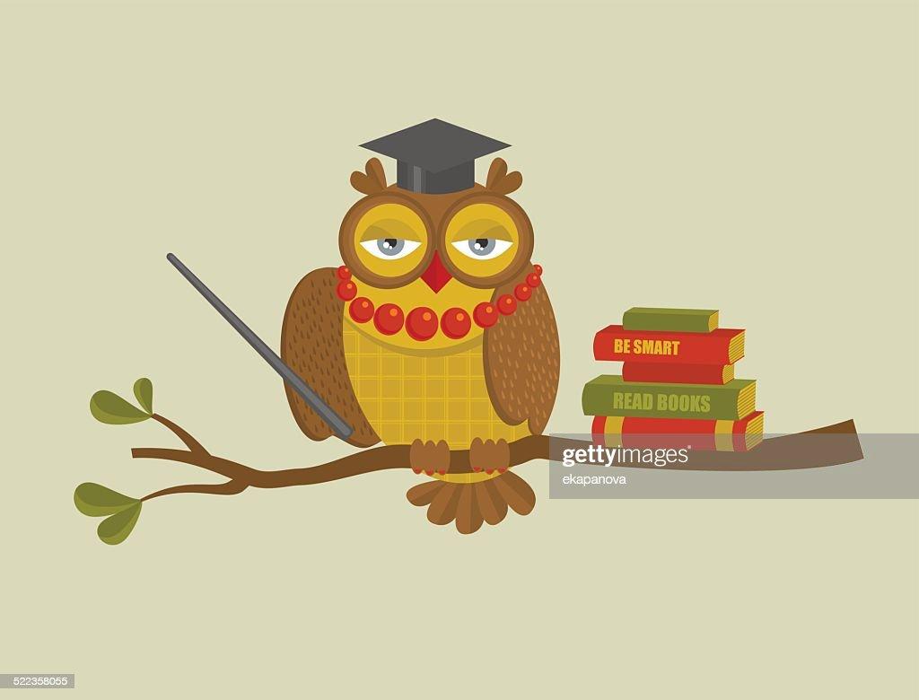 Portrait of fashionable owl teacher.