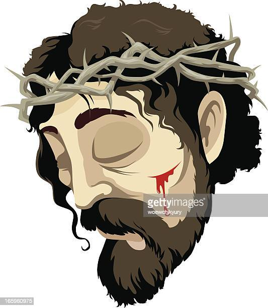 ilustraciones, imágenes clip art, dibujos animados e iconos de stock de retrato de jesus - corona de espinas
