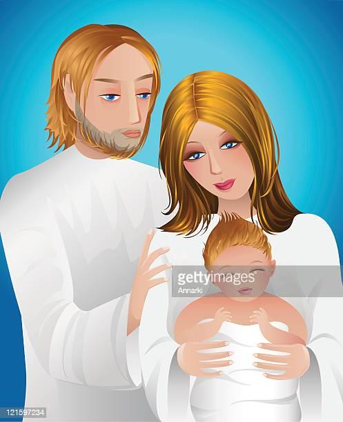 Porträt von Joseph, Maria und Baby Jesus auf blauem Hintergrund