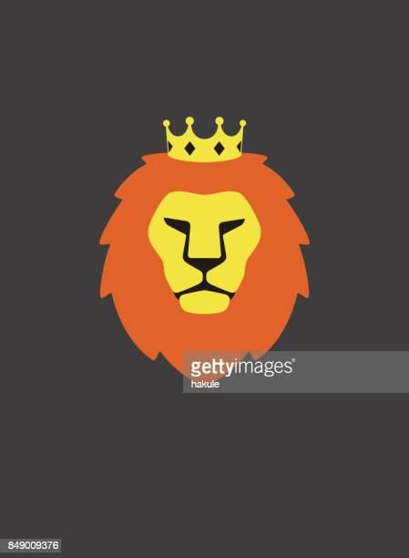 ilustrações, clipart, desenhos animados e ícones de retrato de leão, usando coroa, como um rei, cool estilo - coroa enfeite para cabeça