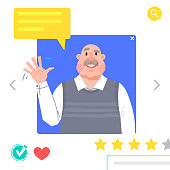 Portrait of Man - graphic avatars for social networking or dating site. The grandfather waves his hand in greeting. Vector illustration