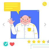 Portrait of Man - graphic avatars for social networking or dating site. The fat man waves his hand in greeting. Vector illustration