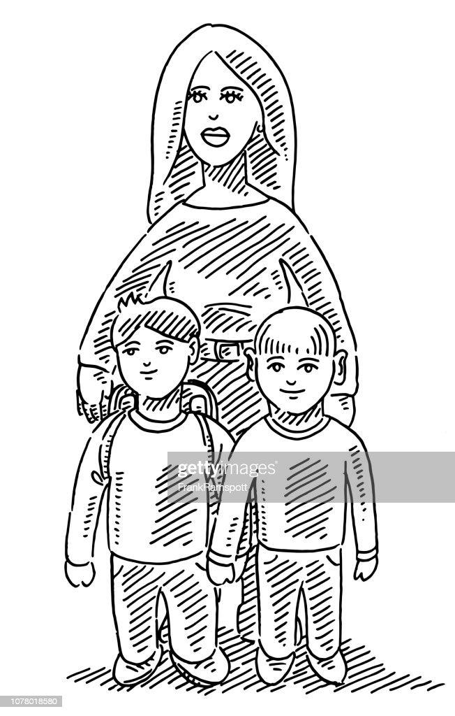 Porträt der Mutter und Kinder Zeichnung : Vektorgrafik