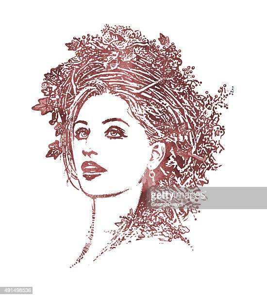 portrait of mother nature wearing floral crown - goddess stock illustrations, clip art, cartoons, & icons