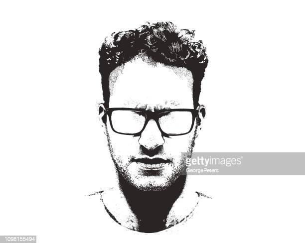 portrait of one serious young man - headshot stock illustrations