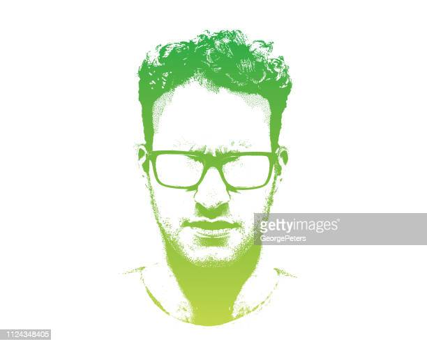 portrait of one serious young man - portrait stock illustrations