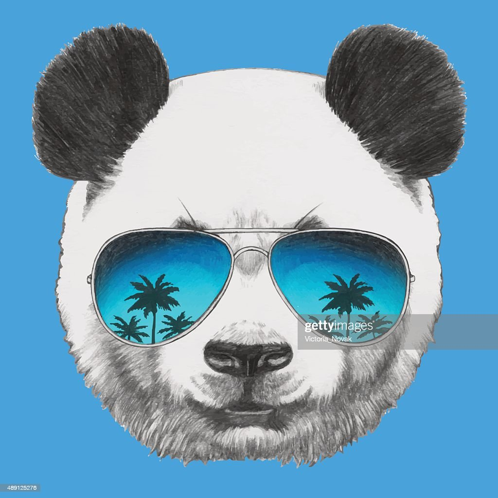 Portrait of Panda with mirror sunglasses.