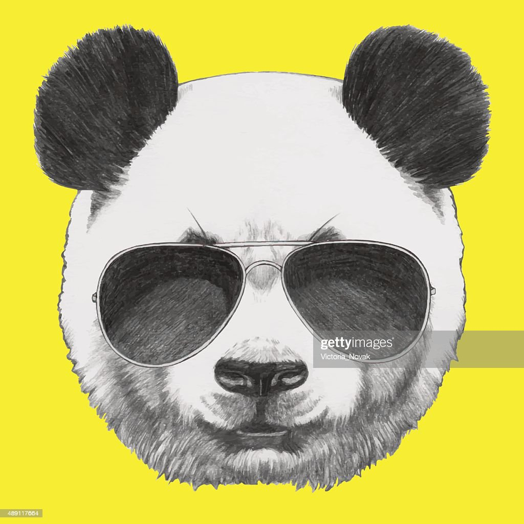 Portrait of Panda with sunglasses.