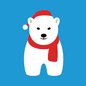 Portrait of polar bear, wearing christmas cap, like Santa claus, cool style