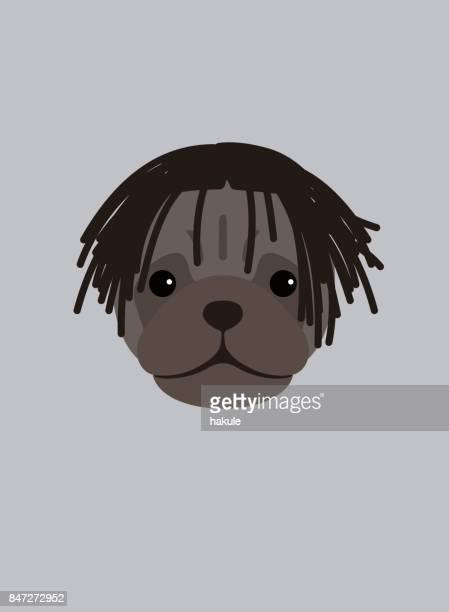 何か、クールなスタイル、ドレッドヘアを身に着けているパグ犬の肖像画 - ドレッドロック点のイラスト素材/クリップアート素材/マンガ素材/アイコン素材
