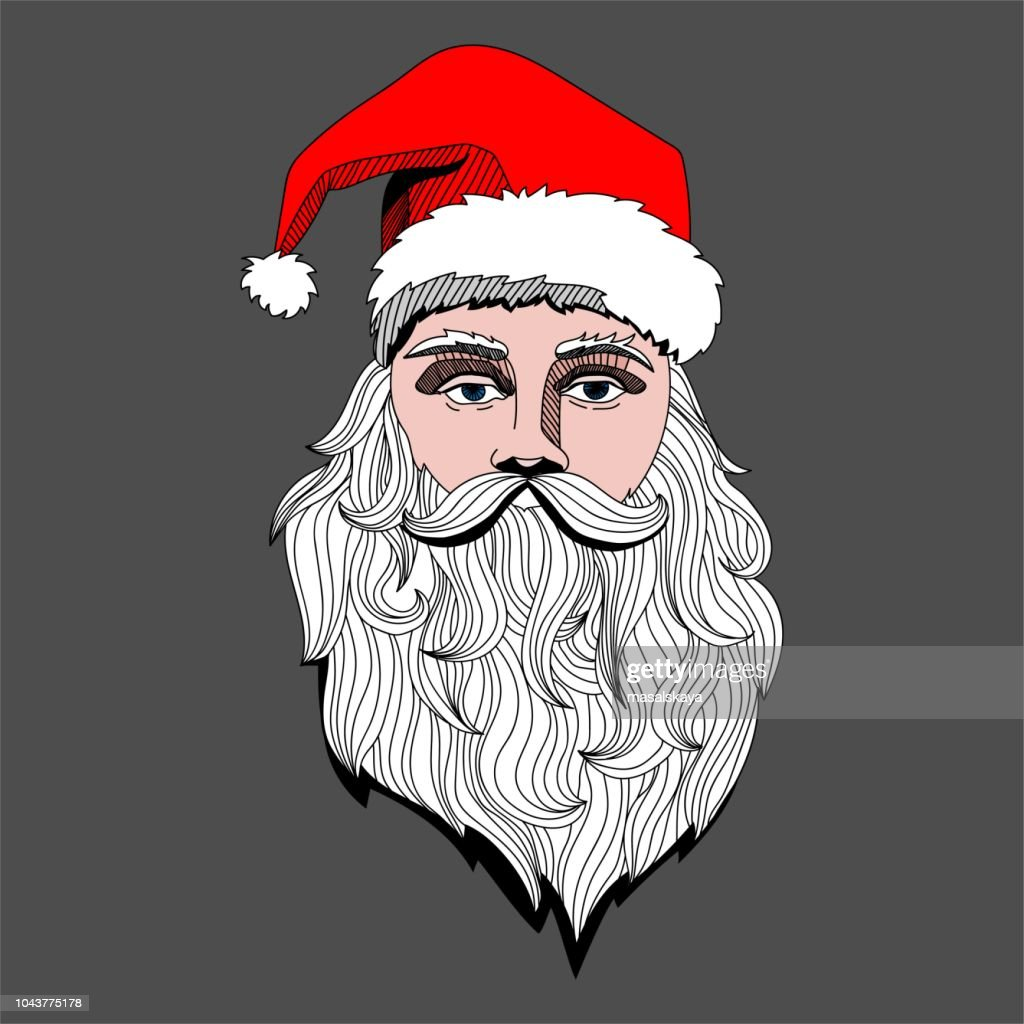 Portrait of Santa Claus head. Vector hand drawn