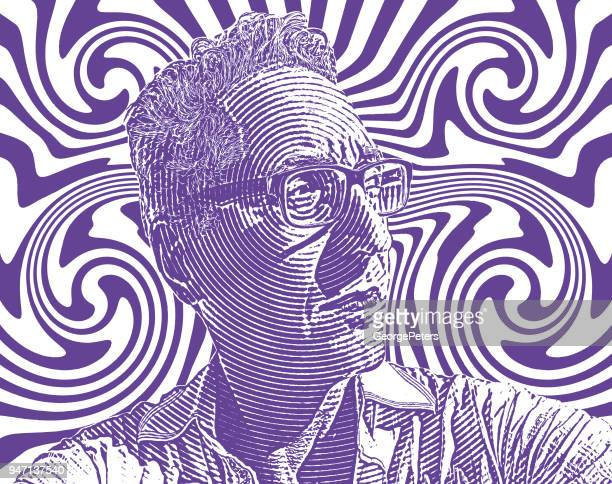Portrait of serious man with halftone pattern background
