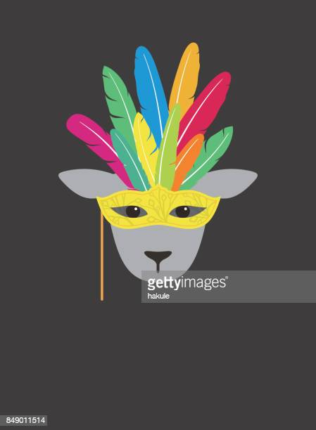 portrait of sheep, wearing feather hat and mask, like samba dancer,  cool style - samba stock illustrations