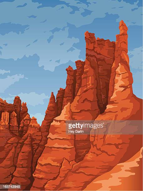 portrait of stone formations at bryce canyon national park - sandstone stock illustrations, clip art, cartoons, & icons