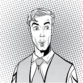 Portrait of surprised man. Surprised businessman. Surprised man. Concept idea of advertisement and promo. Pop art retro style illustration. People in retro style. Halftone background. question what