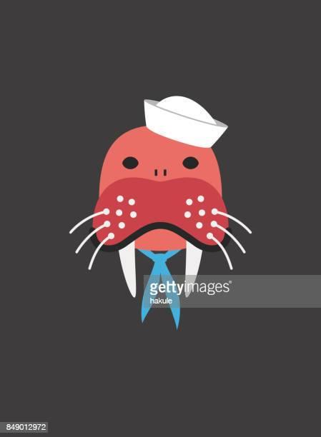 船員の船員、クールなスタイルのようなものを身に着けているセイウチの肖像画 - セーラーハット点のイラスト素材/クリップアート素材/マンガ素材/アイコン素材