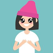 Portrait of young female character with big anime eyes / flat editable vector illustration, clip art