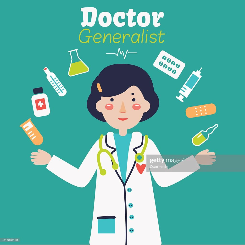 Portrait of young happy smiling female doctor with medical icons