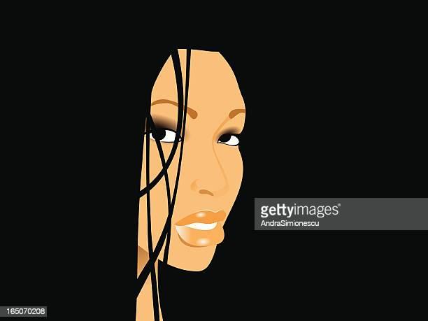 ilustrações de stock, clip art, desenhos animados e ícones de retrato - cabelo liso
