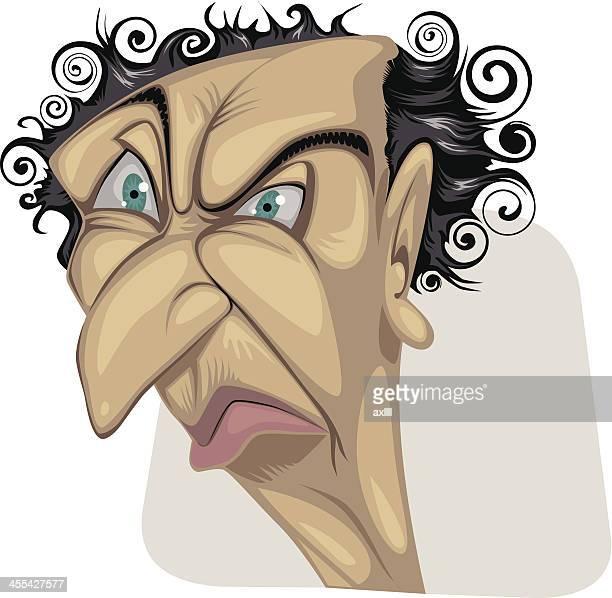 portrait_old_man - sneering stock illustrations, clip art, cartoons, & icons