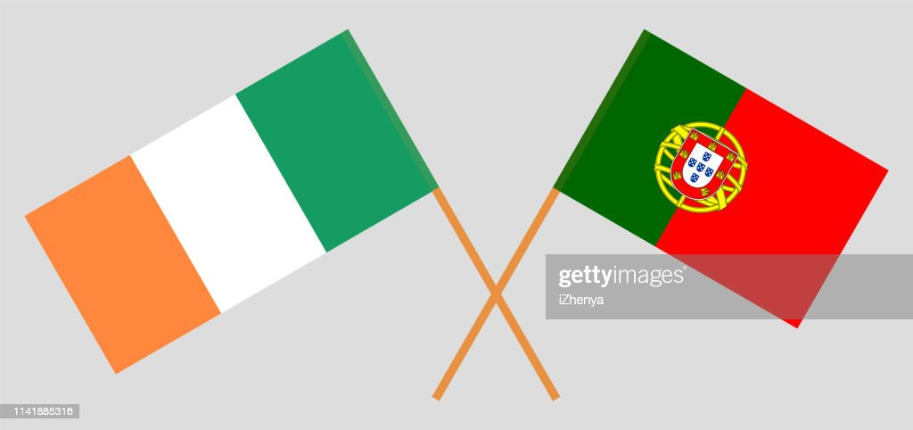 Portugal and Ireland. The Portuguese and Irish flags. Official colors. Correct proportion. Vector