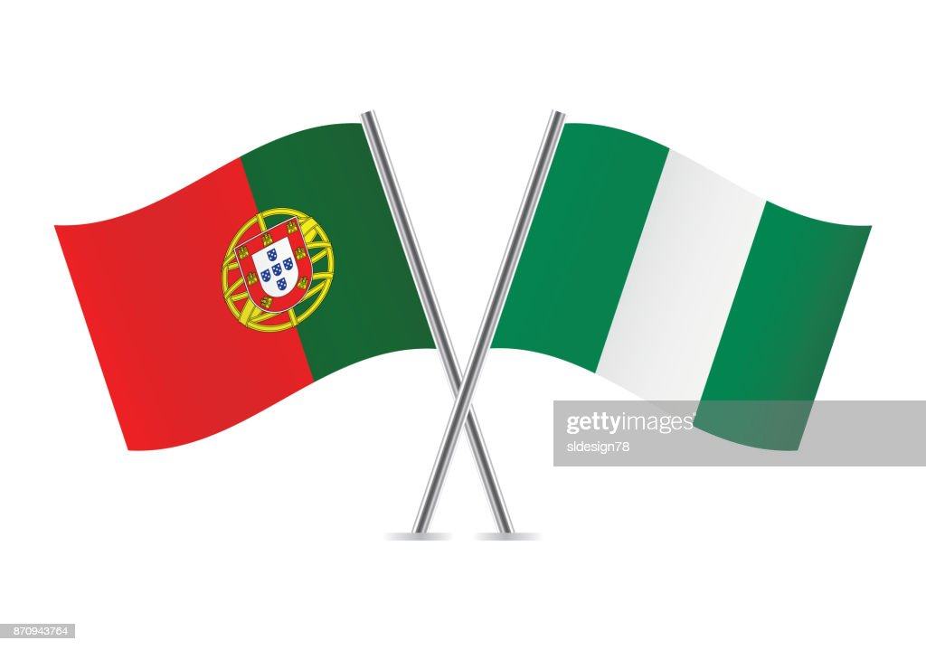 Portugal and Nigeria flags.Vector illustration.