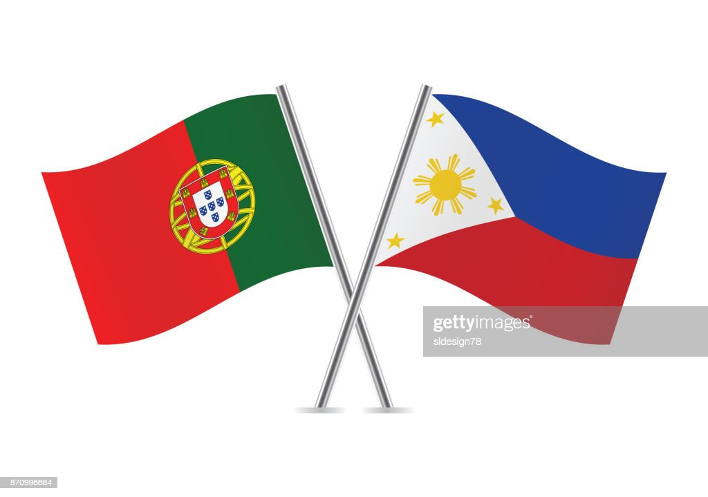 Portugal and Philippine flags.Vector illustration.