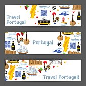 Portugal banners. Portuguese national traditional symbols and objects