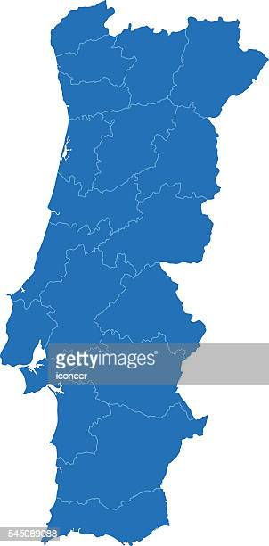 portugal karte auf weißem hintergrund blue - portugal stock-grafiken, -clipart, -cartoons und -symbole