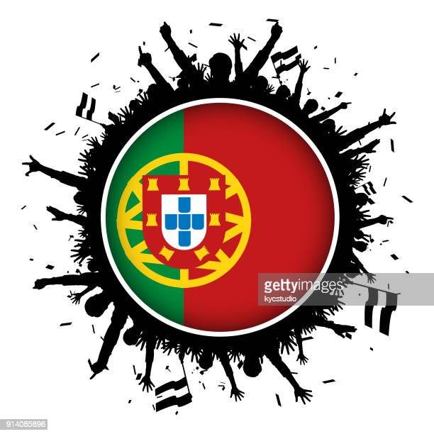 Portugal button flag with soccer fans 2018