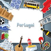 Portugal card with stickers. Portuguese national traditional symbols and objects
