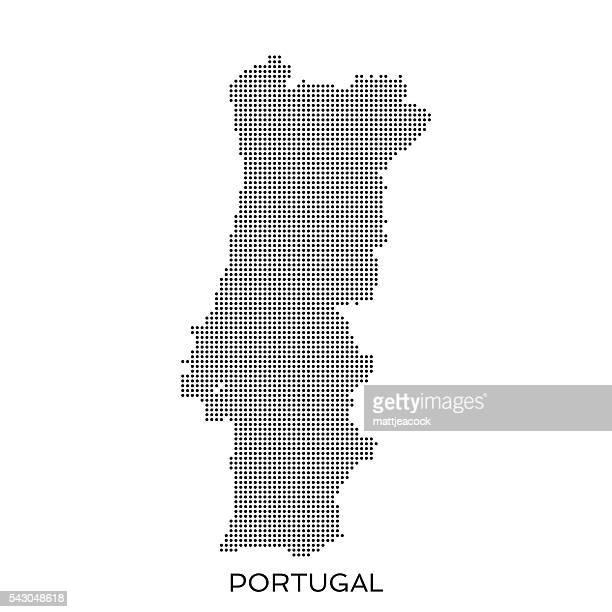 ilustrações de stock, clip art, desenhos animados e ícones de portugal ponto mapa padrão de meio-tom - portugal