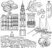 Portugal drawings set. Vector illustration