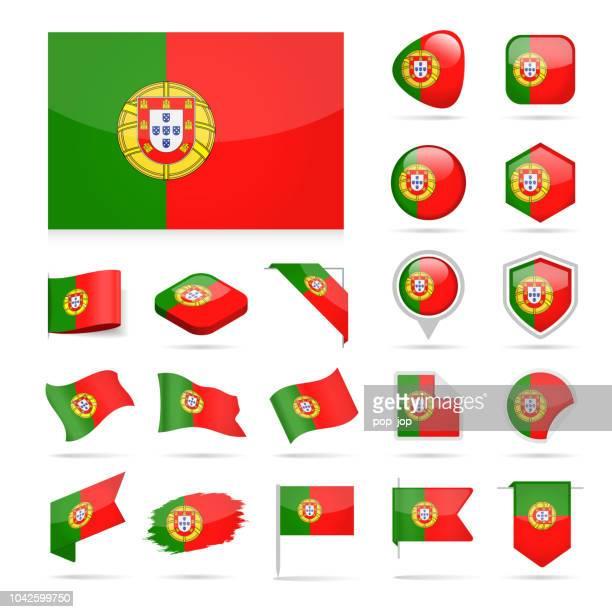 ilustraciones, imágenes clip art, dibujos animados e iconos de stock de portugal - bandera icono vector brillante conjunto - portugal