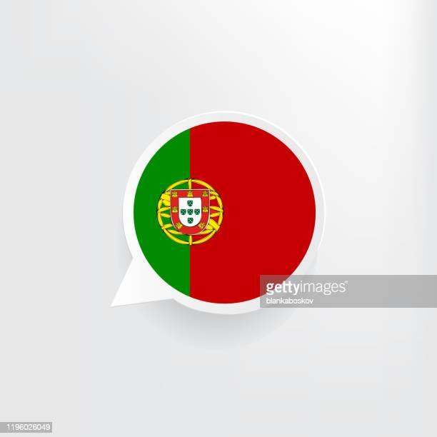 portugal flag speech bubble - portuguese culture stock illustrations