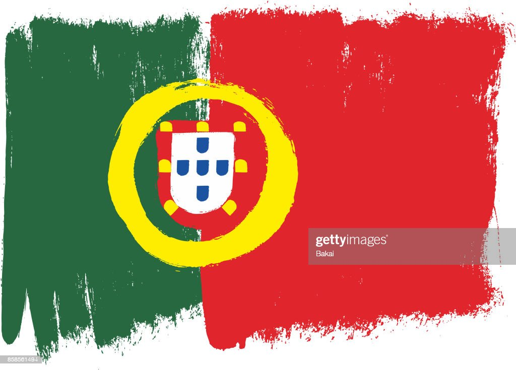 Portugal Flag Vector Hand Painted with Rounded Brush