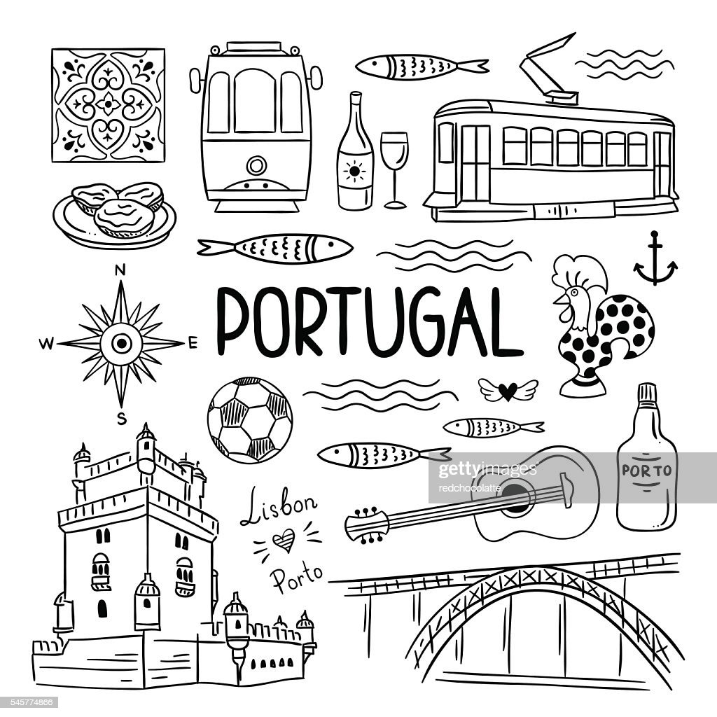 Portugal hand drawn icons. Lisbon and Porto travel illustrations