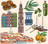 Portugal icon set. Lisbon and Porto drawings