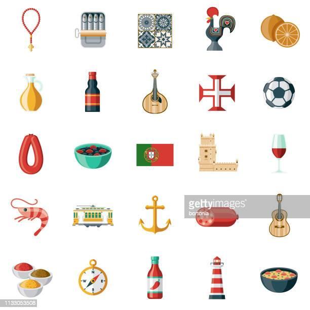 illustrazioni stock, clip art, cartoni animati e icone di tendenza di set di icone portogallo - cultura portoghese