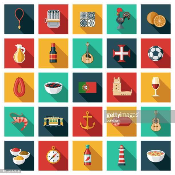 portugal icon set - traditionally portuguese stock illustrations