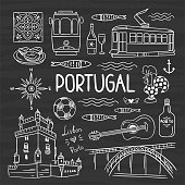 Portugal illustration vector set. Hand drawn travel symbols of Portugal, Lisbon and Porto