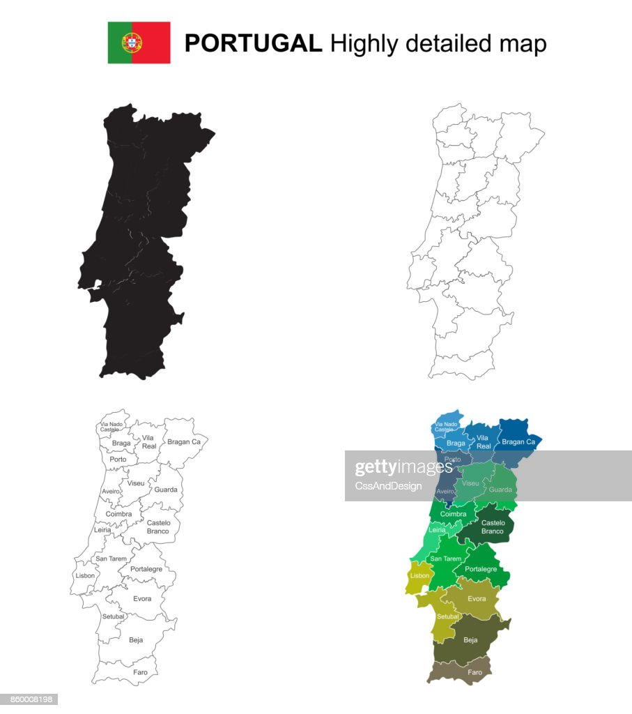 Portugal Isolated Vector Highly Detailed Political Map With Regions