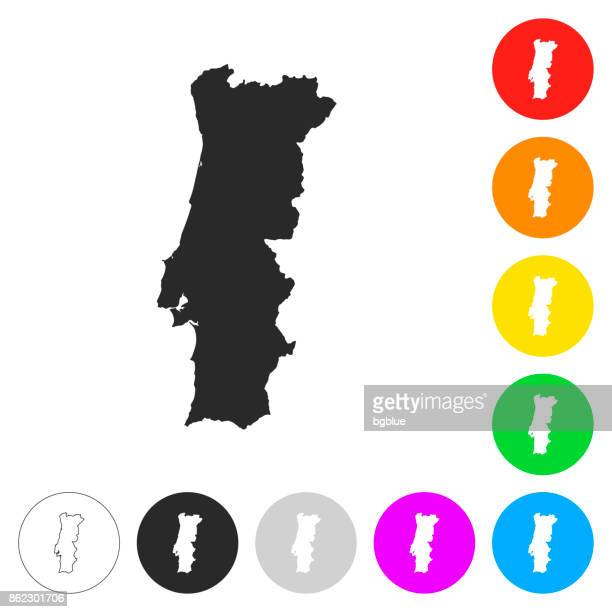 portugal map - flat icons on different color buttons - iberian peninsula stock illustrations, clip art, cartoons, & icons