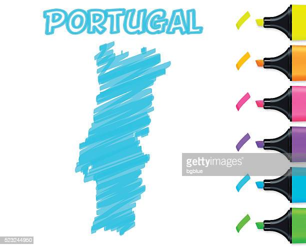 portugal map hand drawn on white background, blue highlighter - portugal stock illustrations