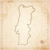 Portugal map in retro vintage style - old textured paper