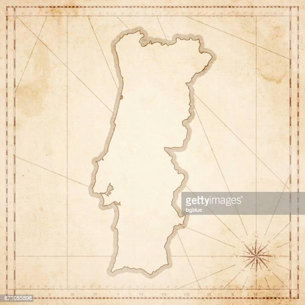 Portugal Karte im Retro-Vintage-Stil - strukturierte Altpapier