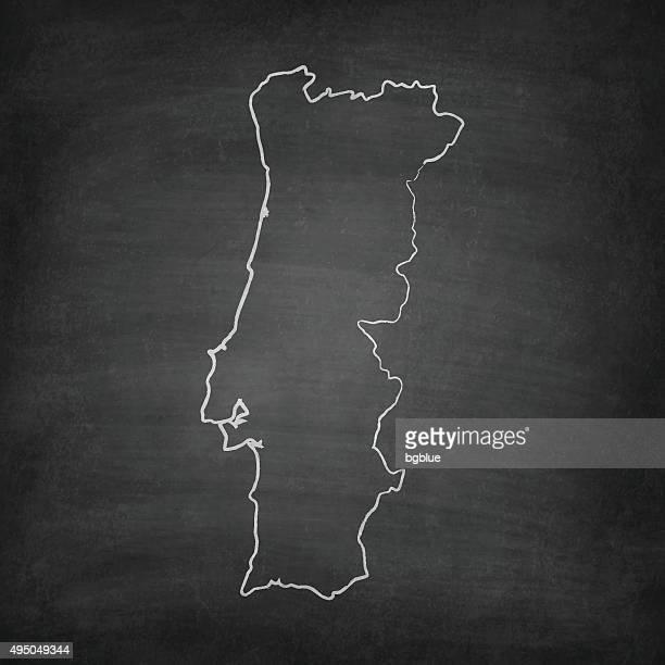 portugal map on blackboard - chalkboard - iberian peninsula stock illustrations, clip art, cartoons, & icons