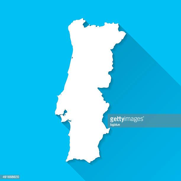 portugal map on blue background, long shadow, flat design - portugal stock illustrations